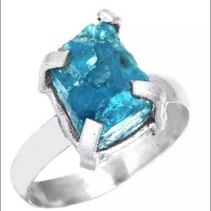 Neon Blue Apatite & Sterling Silver Ring