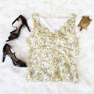 Ann Taylor LOFT sleeveless folral blouse, sz 14/L