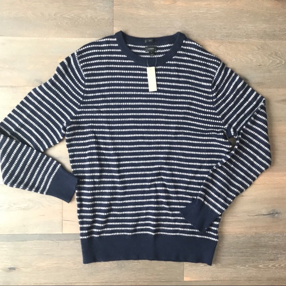 J Crew Sweaters Bnwt Mens J Crew Navy White Striped Sweater