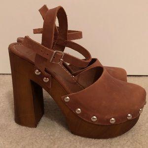 ASOS Studded Platform Clog Heels Brown Leather - 9