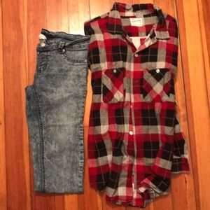 OUTFIT Old Grunge. Skinnies w/ Oversized Flannel