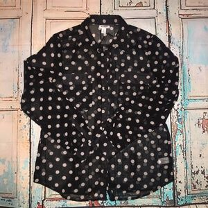 Long Sleeve Polka Dot Sheer Button Down