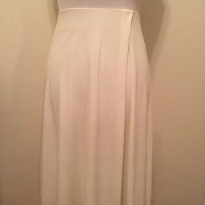 BCBG White Flowy Midi Skirt