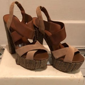Jessica Simpson Brown Wedge Sandals Size 8