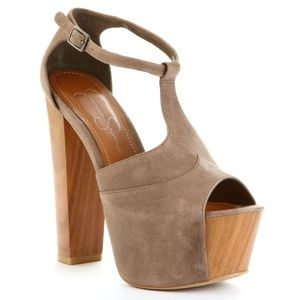 Taupe / Light Brown T-Strap Platform Heel