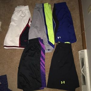 5 pairs of basketball shorts (Nike & Under Armour)