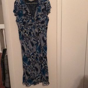 Blue floral dress with side zipper.