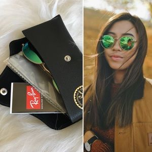 Ray-Ban Round Green Flash Polarized Sunglasses