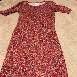 LulaRoe XS Julia Dress - Red, Cream, Blue Floral