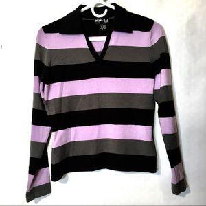 90s vtg grunge stretch striped collared top. M S