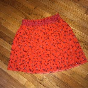 Old Navy Orange Floral a-line bouncy skirt