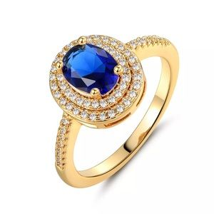 Blue Oval Double Halo Gold Engagement Ring