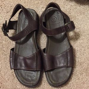 Brown leather rock port sandals 7.5