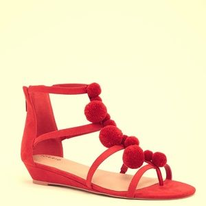 Torrid New with Tags Red Pom Pom Sandals ❤️WIDE