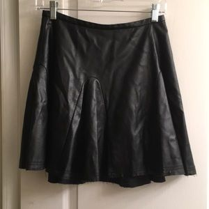 Faux Leather Circle Skirt - XS