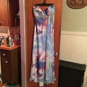 EUC Watercolor formal dress sz 13/14