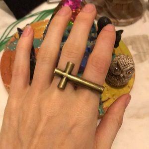 Jesus Cross Ring Double Finger Bar Adjustable