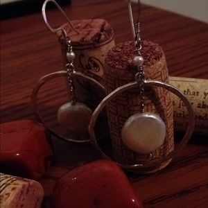 Silver and coin pearl earrings