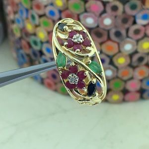 Ladies 10k Gold Sapphire Ruby & Emerald Ring