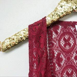 Plus // Boho Lace Fringe Vest