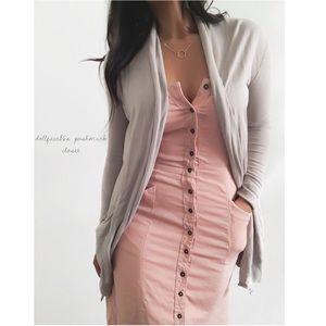 NWT BDG Pink Button Down Strapless Dress