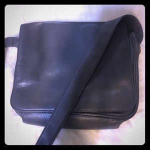 Slate Gray Leather Tignanello Shoulder Flap Bag