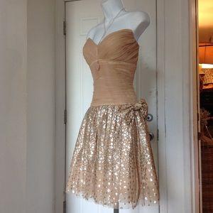 Jovani Gold glitter Strapless Tutu Dress