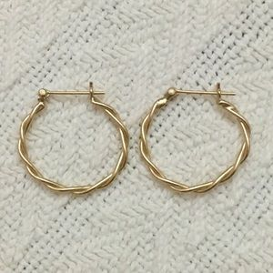 💫Solid 14k yellow gold twisted hoop earrings 1.4g