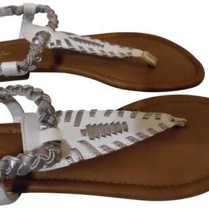 CURFEW Whie Silver T-Strap Sandals