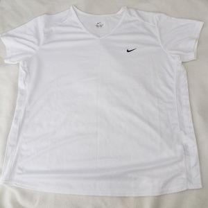 Nike dri fit top white vneck mesh sides 12 14