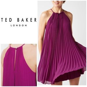 New Ted Baker Bow Detail Pleated Dress in Purple