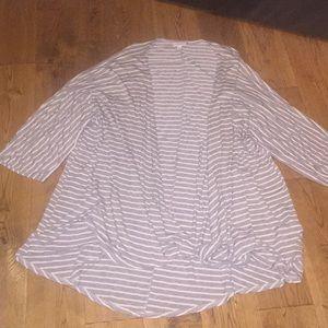 Lularoe Lindsey Cardigan. Grey/white stripe. Med.