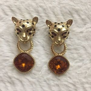 R.J. Graziano Vintage Leopard Clip-On Earrings