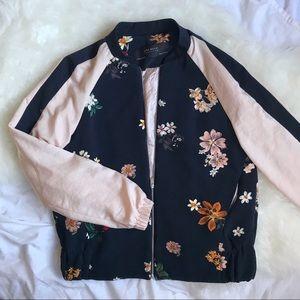 Floral pink & navy bomber jacket