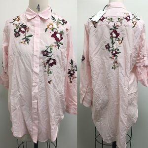 Zara floral embroidered collar shirt