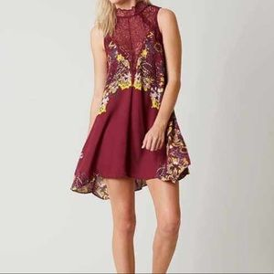 Free People intimately maroon Marsha lace slip