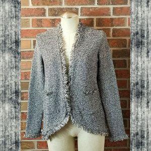Zara Metallic Silver Jacket Blazer Sweater Open