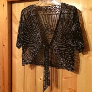 Beautiful lace shrug with mesh body sz med