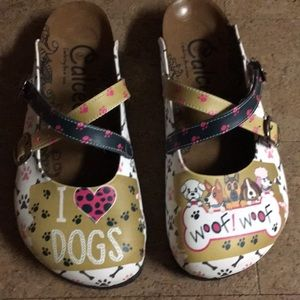 Calceo slip on dog print shoes size 10 new