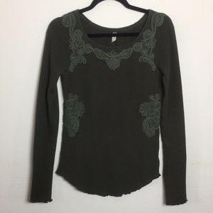 Free People M soutache waffle knit thermal top