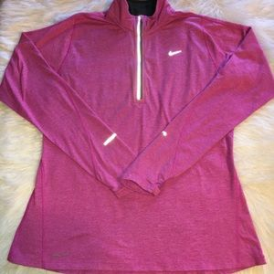 NIKE SIZE LARGE PINK DRI-FIT PULLOVER TOP.