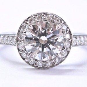 Tiffany & Co Platinum .92ct H-IF +.22ct Accent Dia