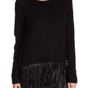 TAHARI Faux Leather Fringe Sweater!! S