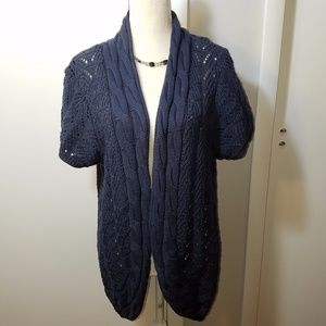 Avenue Open Knit Blue Cardigan Sweater