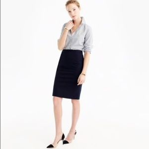J. Crew Black Pencil Skirt in Double-Serge Cotton
