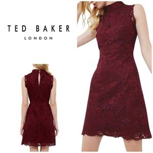 New Ted Baker Latoya High Neck Red Lace Dress