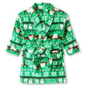Other - Kids Green Fleece Christmas Robe Size Med 7/8 NWT*