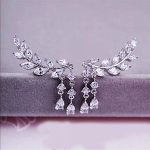 Silver rhinestone dangle scoop elegant earrings