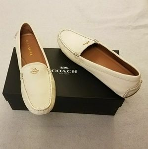 Coach Chalk Amber Leather Loafer Logo Flats Shoes