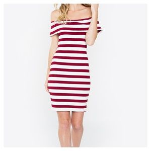 NWT Sugarlips Striped Knit Off the Shoulder Dress